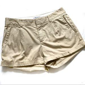 Banana Republic fold over cuff cream shorts